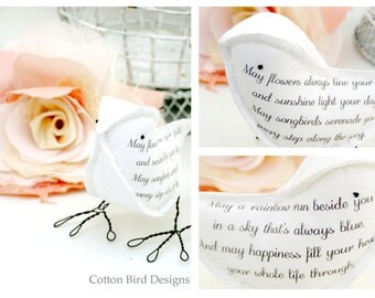 New Baby Naming Ceremony Christening Gift Poem Bird Irish Blessing Fabric Bird - Made To Order