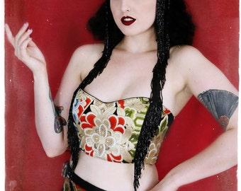Oriental princess  Japanese silk obi burlesque/bellydance costume set