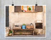 French Travel Photography- Provence still life wooden crates a bucket on bench window shutters street cottage chic print  10x8 11x14 20x16