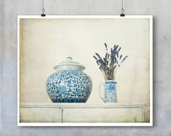 Shabby Chic Floral Photography lavender flowers blue and white pot china ginger jar flower wall art French style romantic print still life