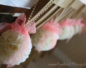 12 - 6 inch wide - ivory and pink - wedding pomanders