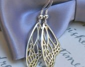 RESERVED for KENDRA - Monarch Butterfly Wing earrings - Sterling Silver detailed