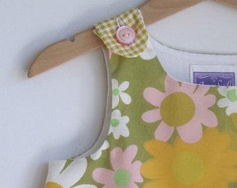 Daisy Chain Dress, Newborn, Baby Girls, Toddler Girls Children's Dress - Size Newborn to Girls size 4 - Vintage Daisy Flower Pink Green Gold