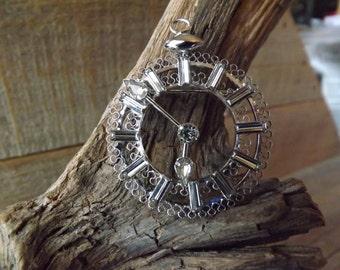 Ladies Brooch, Ladies Pin, Sterling Silver, Clock Brooch, Crystal Clock, Clock Pendant, Rhinestone Clock, Sterling Silver Clock, Star Art,