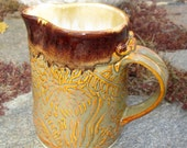 Handbuilt Stoneware Pitcher or Sauce Boat - Brown/Oatmeal