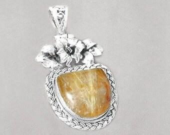 Sale: Golden Rutilated Quartz Sterling Silver Pendant