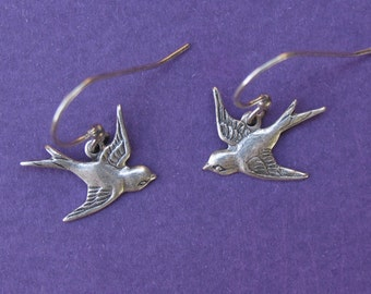 Earrings - Antiqued Silver Swallow Earrings