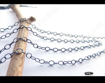 5 feet Oxidized Sterling Silver Loose Chain Medium Weight 2.5mm x 2mm CH53Z