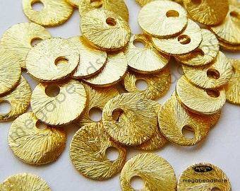 20 pcs 6mm Vermeil Gold Tag Charms Brushed Texture Top Drill Hole F163V