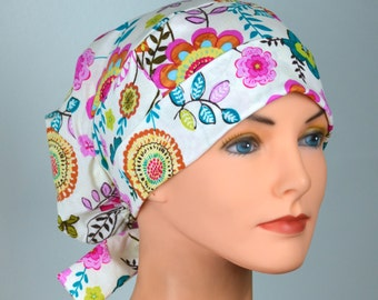 Large Womens Surgical Scrub Caps with FABRIC TIES - The Hat Cottage - Vintage Blooms
