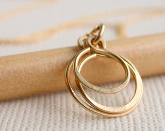 Petite Triple Hoop Necklace. Handcrafted. Artisan. Necklace. Jewelry.