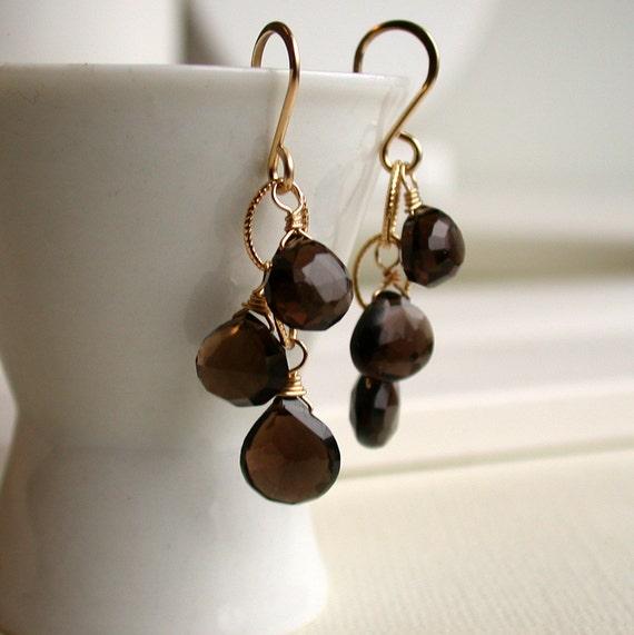 50 Percent Off! Sale. Smoky Quartz Cascade Earrings. Gemstone Cascade Earrings. Dangle Earring. Drop Earring. Artisan. Jewelry.