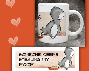 CAT MUG. Someone Keeps Stealing My Poop. cat looks at litter box. Cat Coffee Mug