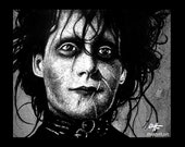 "Print 8x10"" - Edward Scissorhands - Tim Burton Johnny Depp Horror Pop Art Dark Halloween Leather Fetish Gothic Frankenstein Vintage"