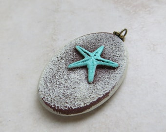 Beach Jewelry. Star Fish Blue Pendant