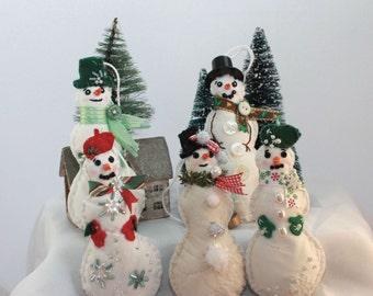 Winter Snowman Quilty Critter - OOAK, Novelty, Ornament, Folk Art Doll - Custom Created, any fresh fill