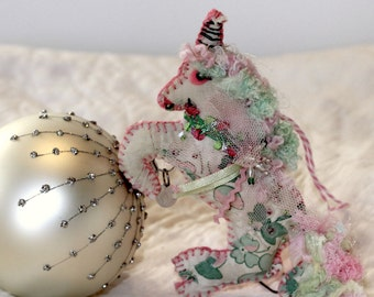 Fantastic Fantasy Pink and Green Unicorn Quilty Critter - OOAK, Novelty, Folk Art, Ornament, Gift