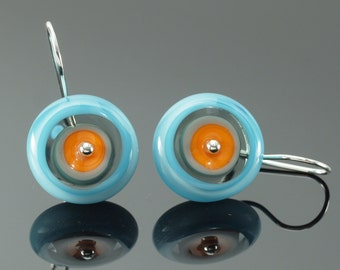 Circle Earrings in Orange, Turquoise, and Gray - Ready to ship