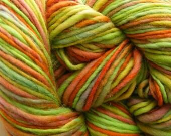 Clearance LIMEY PUMPKIN Handspun Yarn Merino Wool Handdyed 187yds 3.5oz 8wpi aspenmoonarts knitting