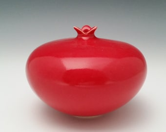 Ceramic Vessel Pomegranate Vase Modern Minimalist Red Pottery