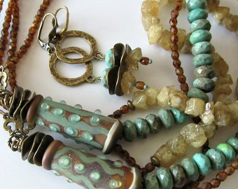 Lampwork and Gemstone Necklace and Earrings, Triple Strand, Soft Sage Green, Aqua, Browns, Antique Brass, Beaded Jewelry, Beaded Necklace