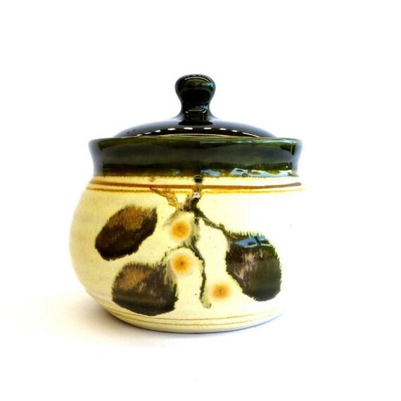 vintage ballarat pottery sugar bowl olive green and