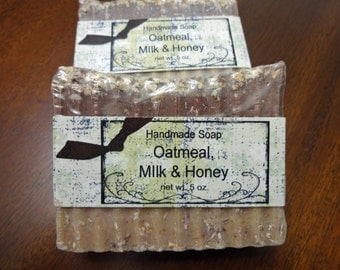 Oatmeal Milk Honey Exfoliating Cold Process Soap