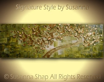 ORIGINAL Abstract Gold Olive Green Tree Painting Home Decor Textured Modern Palette Knife Art by Susanna 36x12