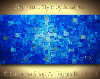ORIGINAL Blue Abstract Painting Something Blue Painting Modern Texture Art Wall Art Palette Knife Painting Canvas 48x24 by Susanna