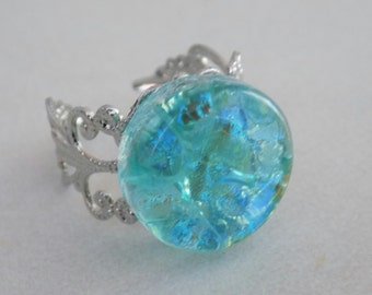 Light Blue Fused Dichroic Art Glass Jewelry Adjustable Silver Plated Ring