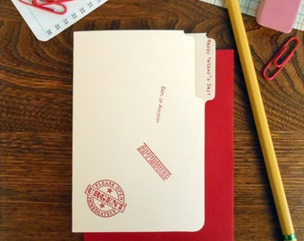 letterpress happy father's day mini manila file folder greeting card red ink on manila paper with red envelope
