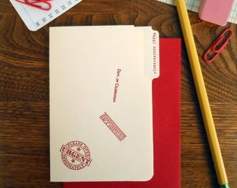 SALE 50% OFF letterpress happy anniversary mini manila file folder greeting card red ink on manila paper with red envelope