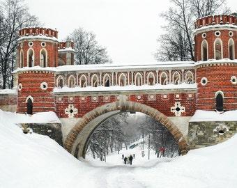 Ancient architecture. Landscape photography. Winter. Snow. Brick Tsaritsyno Bridge. Moscow, Russia. 5x7 print.