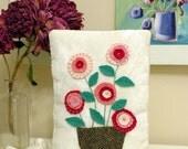 Pink Posies Wool Applique Pillow - Spring Decor - Needlework - Handwork - Folk Art - Whimsical