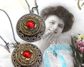 1910s BUTTON earrings, Edwardian lace bow with red. Antique button jewelry, jewellery.