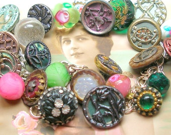 "Antique BUTTONS Charm Bracelet, Victorian Spring pink & green glass and metals, 8"" ooak jewellery."