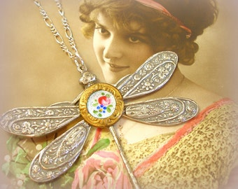 Dragonfly Antique BUTTON necklace, Victorian flowers on sterling chain. Antique button jewelry, jewellery.