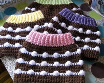 Custom Chocolate Cupcake Dog Sweater Vest - Pick Your Favorite Frosting - Size S or XXS or XS - Made to Order for you