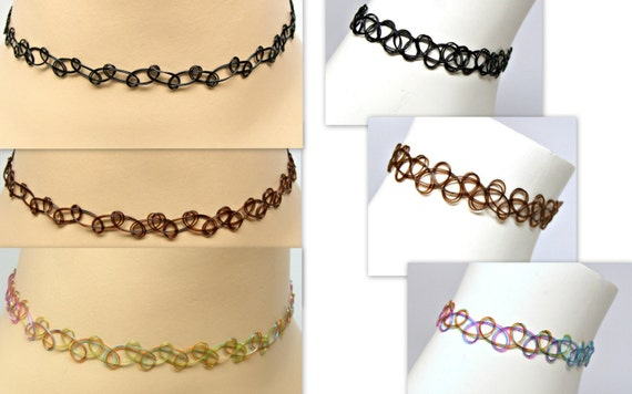 Tattoo Choker Headband Stretch Necklace and Anklet - Bracelet Set Black, Brown, Rainbow Multi Add your Own Charms