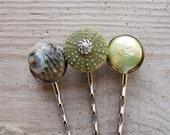 Sea Urchin Bobby Hair Pins - Sea urchin, Pearl and Shell Set of Three