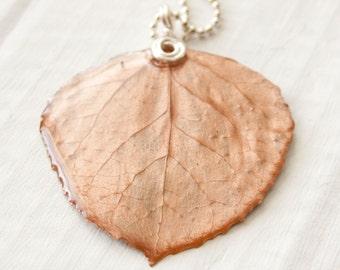 Rose Copper Aspen Leaf Necklace, Bridesmaid Jewelry, Nature Pendant