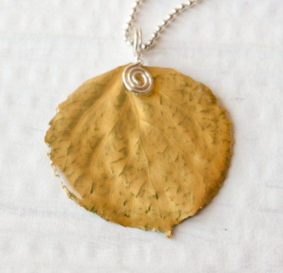 Gold Aspen Leaf Pendant, Bridesmaid Jewelry, Nature Jewelry