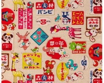 HALF YARD - Kawaii Animals with Signs, Panda, Frog, Bear, Bunny, Giraffe, Bird, Ramen, Telephone - Cosmo Textile Japanese