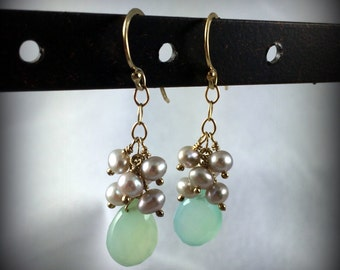 EARRINGS - Aqua Chalcedony, taupe Freshwater Pearls, with 14K gold filled
