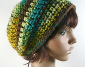 Chunky Slouchy Beanie in Mustard Fields Variegated Yarn - Yellow, Blue, Brown, Green