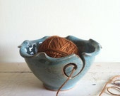 Blue Yarn Bowl,  Knitting bowl, Handmade ceramic pottery