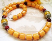 Handmade Necklace Natural Amber  Long Yellow Brown by Maryanstudios