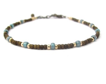 Turquoise Brown Friendship Bracelet, Seed Bead Bracelet, Friendship Bracelet, Beaded Bracelet, Brown Bracelet, Turquoise Bracelet
