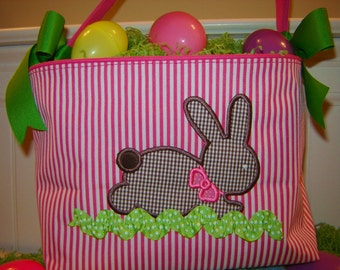 Hot Pink and White Easter Tote