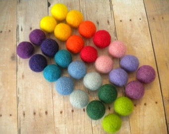 Needle Felted Wool Beads,  Set of 28, Primary Colors, Multicolored, Rainbow, Handmade